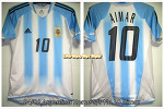 04/06 Argentina Home S/S No.10 Aimar Match Worn