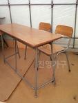 [품절] 중고 학원 책상 - 일반형 2인용 책상 - 일반의자 / 하이팩의자