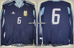 04/06 Argentina Away L/S No.6 Heinze Match Worn Shirt Vs. Germany (09.02.2005) (SOLD OUT)