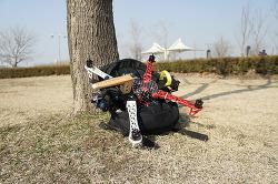 쿼드콥터 가방에 업고다니기 - 자전거로 이동하기