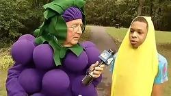 바나나 옷을 입었단 이유로 정학당한 학생을 지지하기 위해, 포도옷을 입은 기자.