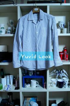 {Yuvid Look구매보고서] 브랜디드 오픈카라 스트라이프 셔츠 (파자마셔츠, 레트로카라)