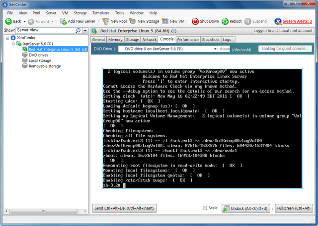 1119114B4DD0C668326A07 Monomodo de inicialização do Linux da Citrix XenCenter - inicialização senha de root