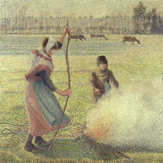 카미유 피사로, 서리가 내린 들판에서 불을 지피는 소녀