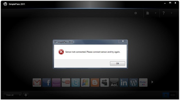 HP Simplepass 2012 Error Message