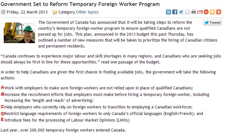 캐나다 LMO/취업비자 받기 더 어려워 지겠네요.