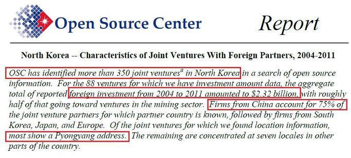 북한진출 외국기업 351개:2004년이후 23억달러투자-지난해부터 급감-미정부 대외비문서