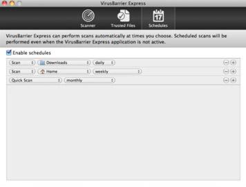 맥용 무료백신(Mac Anti-Virus) - VirusBarrier Express 스케줄 관리