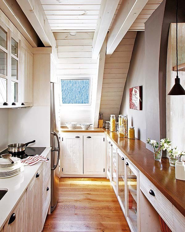 Narrow Galley Kitchen With Island