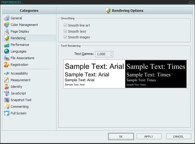 PDF-XChange Viewer 설정창(클릭하면 확대)