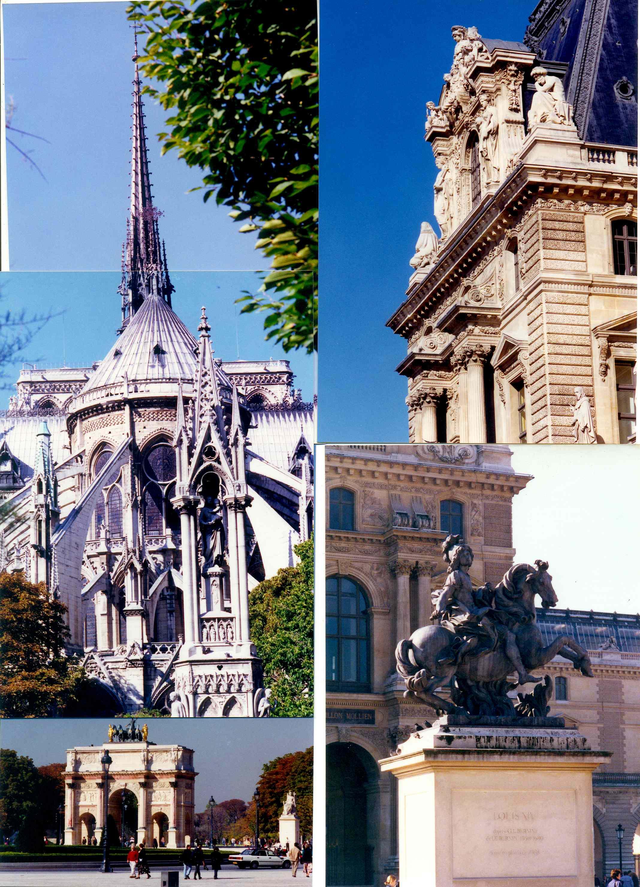 1996년 프랑스 파리 노틀담 사원 외부 모습과 시가지 풍경