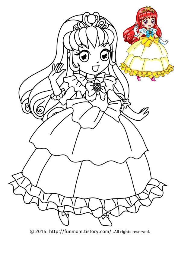 공주색칠공부프린트 -Princess Coloring Page::FUNMOM 펀맘