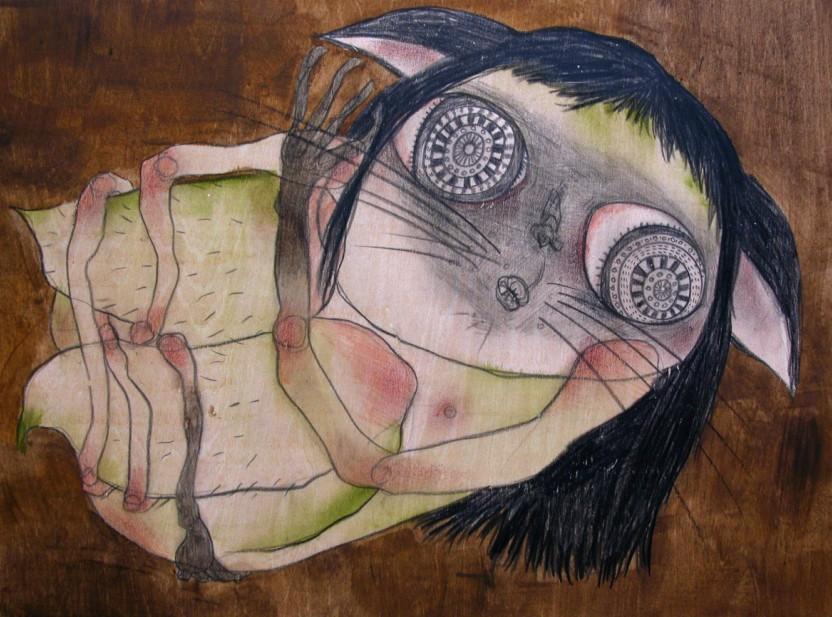 ...때를 기다려야지 _ conte, acrylic on wood _ 30×22 _ 2006 (Sold Out)