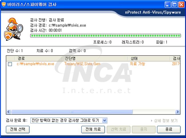 [그림 4] nProtect Anti-Virus/Spyware V3.0 진단 및 치료 화면