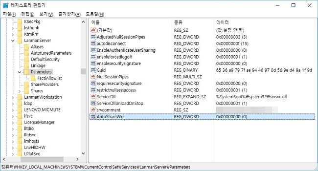 보안과 성능 향상을 위한 윈도우 기본 공유 해제 방법