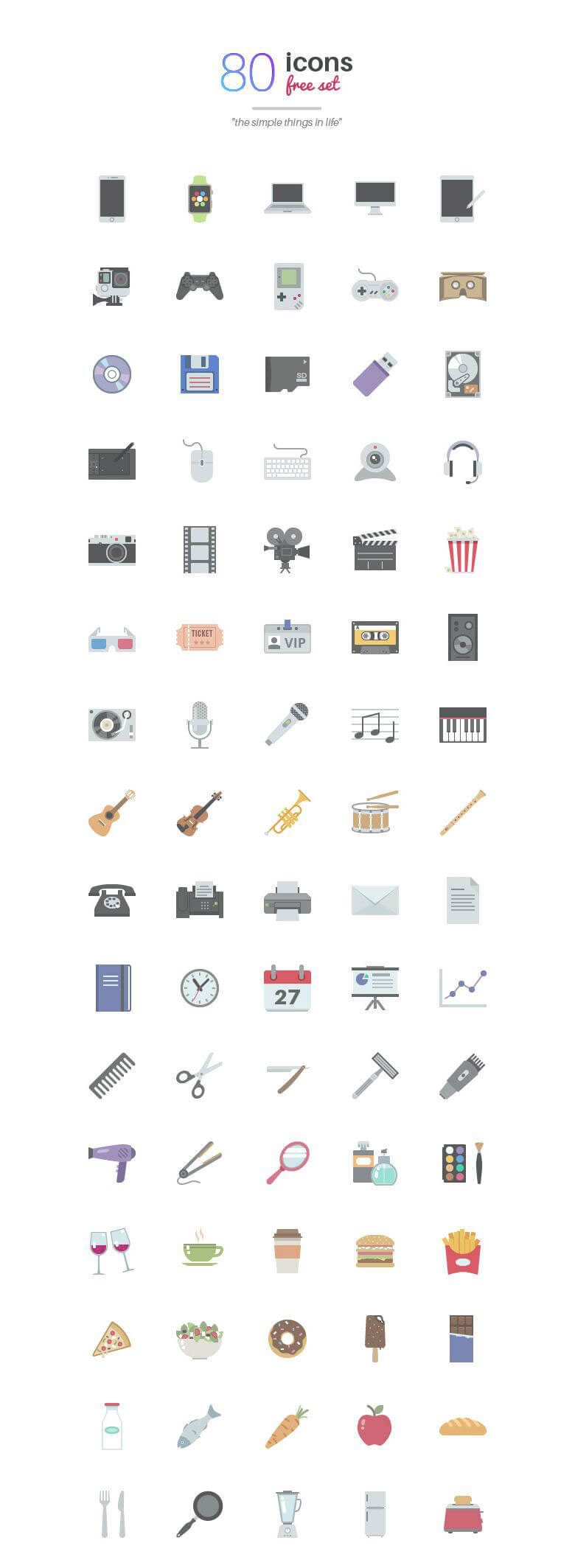Simple Things in Life : 80 Icons Set