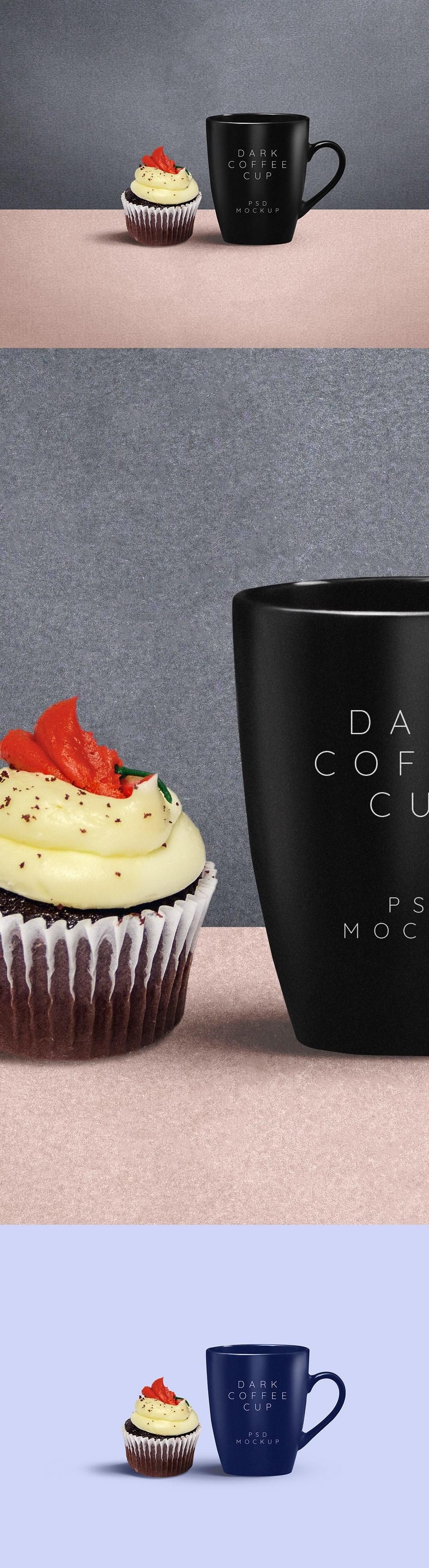 컵케익과 함께 있는 무료 커피컵/머그컵 목업 PSD - Free Coffee Mug PSD Mockup