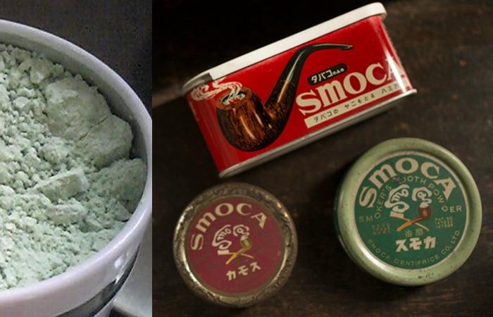 사진: 근대적 양치질의 유래 중 치약은 일본의 치분에서 시작된다. 당시에는 담배냄새를 제거하는 목적으로 사용되었던 것으로 보이는데, 아직도 판매가 되고 있다. [칫솔, 치약의 발명과 개발]