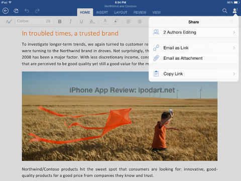 Microsoft Word for iPad 마이크로소프트 워드 아이패드