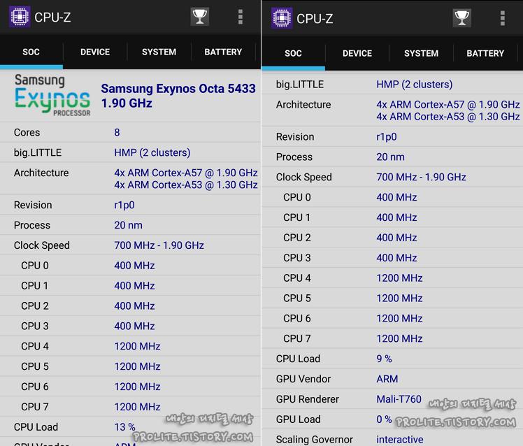 CPU-Z 스마트폰 사양