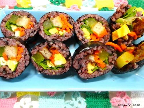 검은쌀 돈가스 김밥