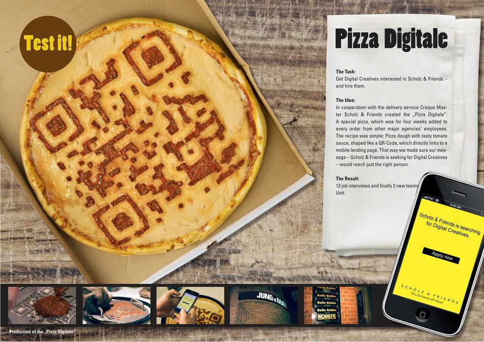 피자 위에 QR코드를 찍는다(Pizza Digitale) - Scholz & Friends Hamburg의 구인광고.