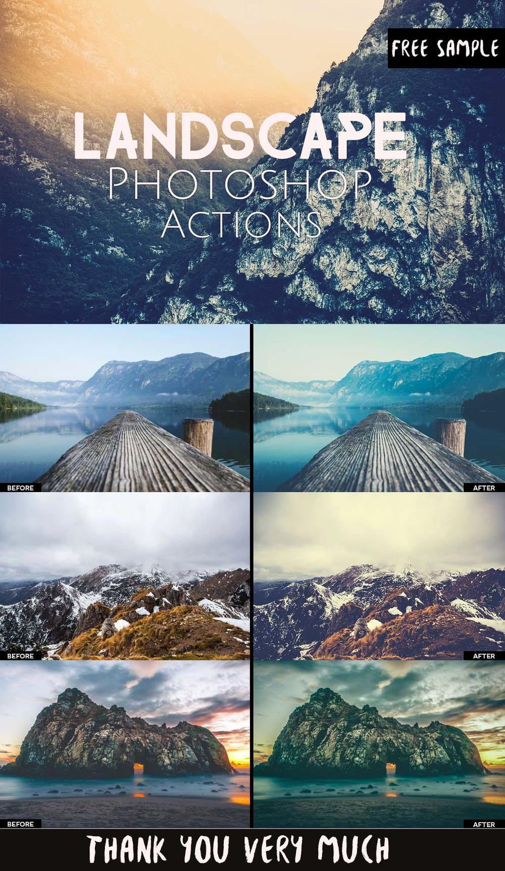 3 가지 무료 풍경 포토샵 액션 - 3 Free Landscape Photoshop Actions