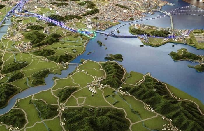 사진: 이명박 전 대통령의 또 하나의 토목사업이었던 아라뱃길의 모형도. 아라뱃길은 한강하류에서 인천으로 통하는 한국 최초의 운하이다. [이명박의 4대강 사업 문제점]