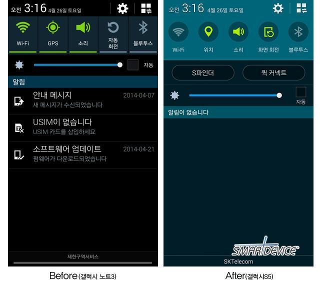 갤럭시 S5, 갤럭시 S5 UI, 갤럭시 S5 인터페이스, 갤럭시 S5 간편설정