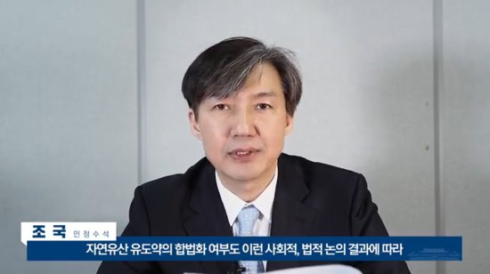 조국 민정수석의, 미프진 도입 여부 답변 영상 한 장면 캡쳐