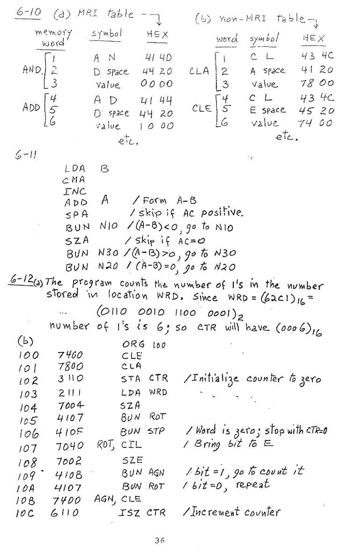 컴퓨터구조 연습문제, 모리스 마노 챕터6 36